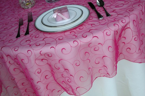 Swirl Embroidered Organza Wedding Table Overlays