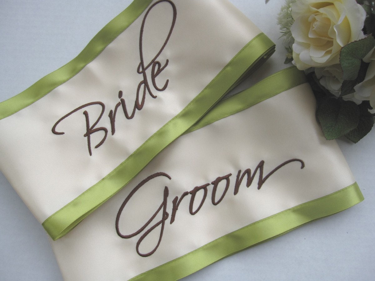 Bride And Groom Wedding Chair Sash Set By Floratouch On Etsy