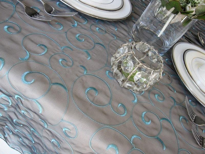 Swirl Organza Embroidery Wedding Table Overlay