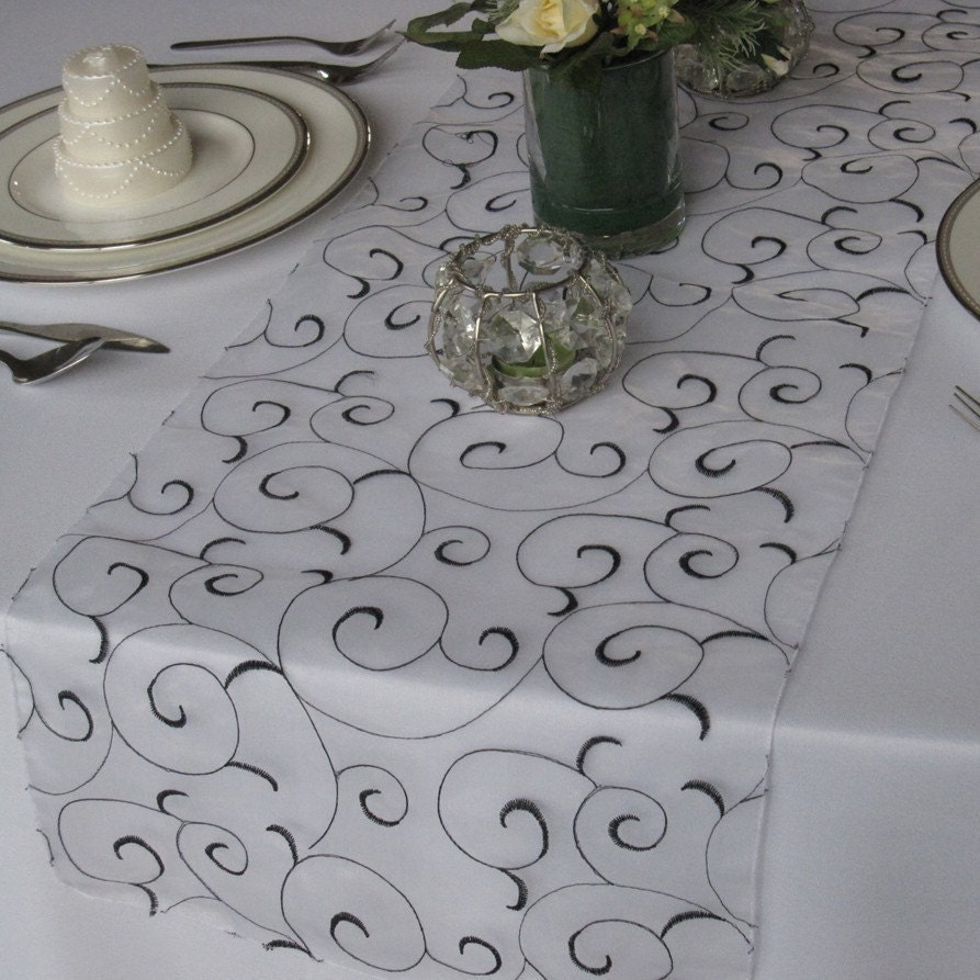 by Embroidered Swirl runners Table for Runner floratouch table Wedding Organza  wedding