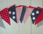 Red, white and blue July 4th bunting/banner