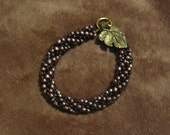 Amber, Copper, and Brass Color Crocheted Bracelet.  Handmade in USA