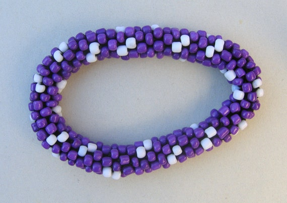 White and Purple Crocheted Glass Bead Bangle Bracelet.  Made in Michigan