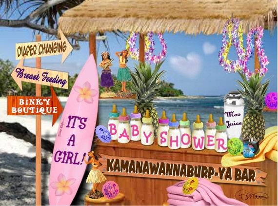 items similar to baby shower girl hawaiian theme custom package