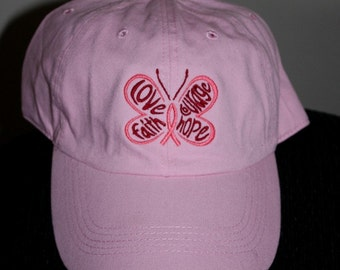 Ladies Embroidered Pink Polo Style Hat- Breast Cancer Butterfly