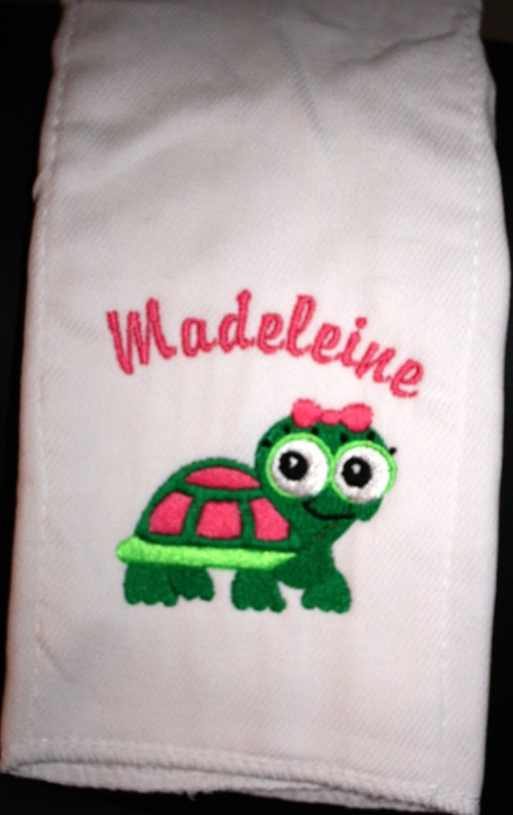 Embroidered Personalized Burp Cloth for Girl- Baby Girl Turtle