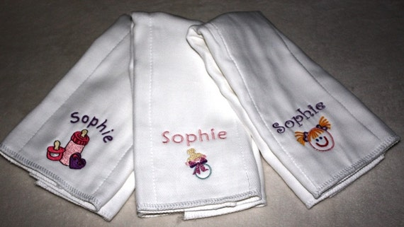 Baby Girl's Embroidered Monogrammed Burp Cloth Set of 3