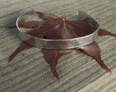 Womens hand hammered silver cuff bracelet with secret inscription