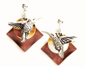 Lovely Hummingbird Earrings - Copper/Gold/Silver mixed metal color combination with Pewter Hummingbird Charm - on Ear Posts or Ear Wires