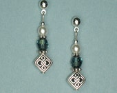Silver Celtic Earrings - Silver Knot Celtic Bead,  Round Blue Swarovski Crystal and Swarovski Glass Pearl - on Ear Posts or Ear Wires