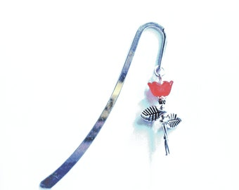 Bookmark - Handcrafted Red Tulip Flower