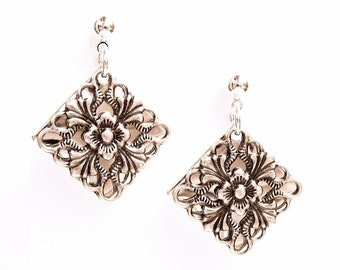 Silver Filigree Earrings - Vintage-Style Antiqued Silver Filigree over Shiny Silver Disc - on Ear Posts or Ear Wires