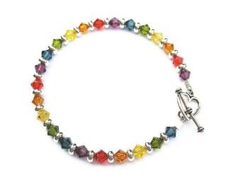 Rainbow Bracelet, Swarovski Crystals, Pewter Toggle Clasp