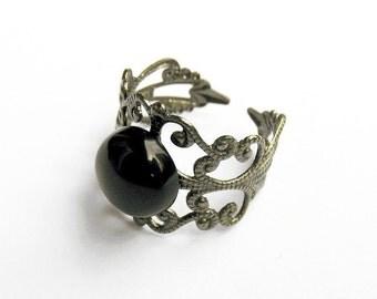 Black Onyx Ring  - Gunmetal Filigree Ring with 10mm Black Onyx Cabochon, Adjustable