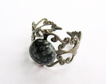 Snowflake Obsidian Filigree Ring  - Gunmetal Filigree Ring with 10mm Snowflake Obsidian Cabochon, Adjustable
