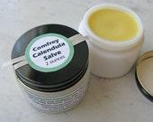 Comfrey Calendula Healing Salve in White Milk Glass Jar