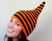 Bright Orange and Black Striped Halloween Goblin Hat - Womens & Childrens Ready to Ship
