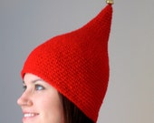 Red Christmas Elf Hat with a Bell - Adult Child