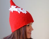 Holiday Sparkle - Red Christmas Elf Hat with Poinsettia Flowers and Rhinestones