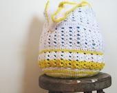 Sunshine on a Cloudy Day - Crochet Cotton  Market Beach Tote Bag