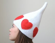 The White Queen - Valentine's Day Hat - Red Heart Child or Adult Elf Hat