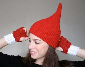 Red Elf Hat - Pointy Gnome Hat