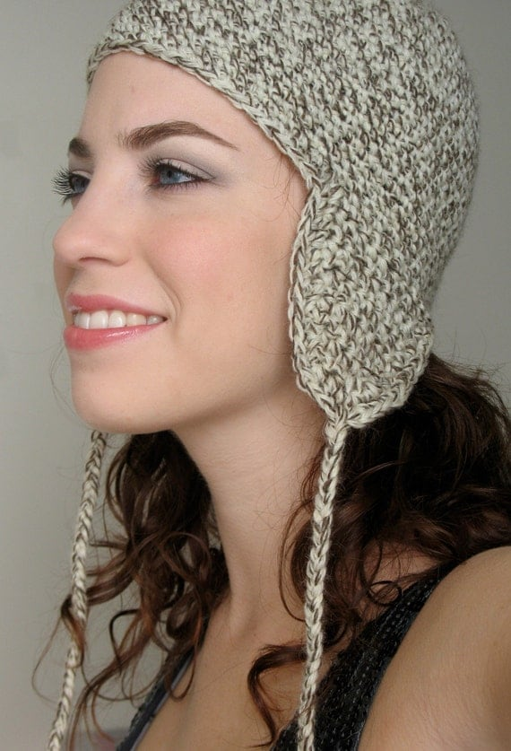 Winter Wheat - Neutral Tweed Hat with Ear Flaps and Tassels
