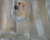 Painted YELLOW LAB glass goblet