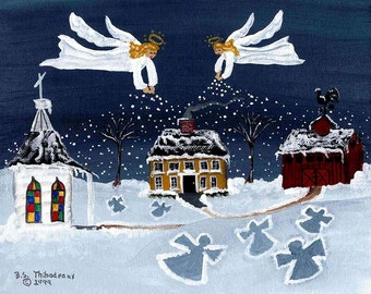 Folk Art  SNOW ANGELS  signed print by Barbara Steele Thibodeaux