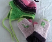 Girls Pink Purple and Neon Green Felted Wool Striped Ear Flap Hat, sized Toddler, IN STOCK