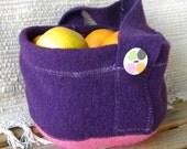 Eggplant and Hot Pink Wool Gathering Basket