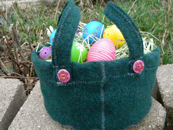 Pine and Lavender Mini Overalls Wool Gathering Basket