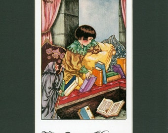 Vintage Children's Print - Little Lame Prince Gazing out the Window