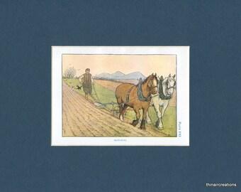 Farm Animal Antique Print of Horses Ploughing - circa 1908