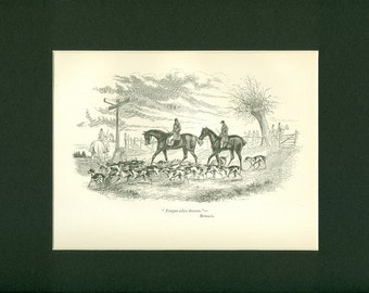 Antique 1892 Print of Fox Hunting - Going Home