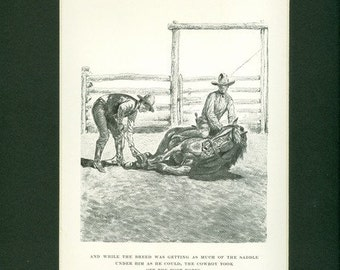 Vintage 1929 Smoky The Cow Horse Black & White Horse Breaking Print