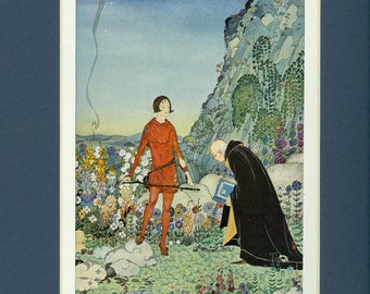 1920 Old French Fairy Tale Prince and Wise Man Vintage Illustration