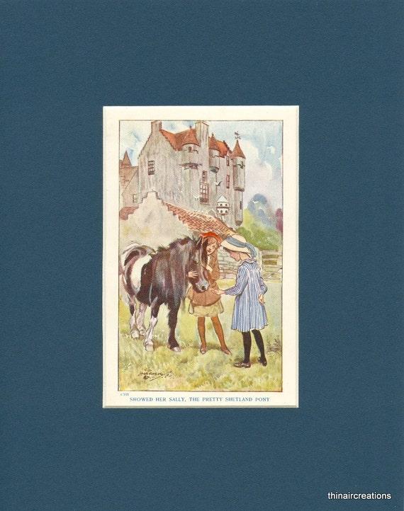 1918 Vintage Story Book Pretty Shetland Pony Print