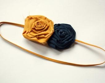 Mustard and Navy Skinny Rosette Headband