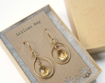 Luxe Gold Citrine Earrings