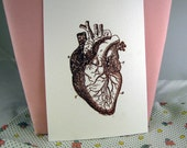 Gross Anatomical Heart Drawing - Stamped and Embossed Blank Cards