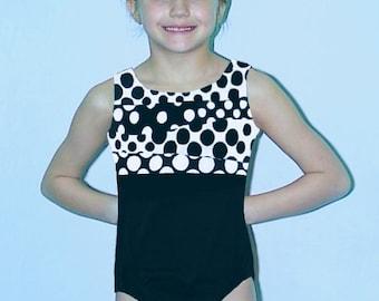 Gymnastics Girls Leotard Child size 4 6 8 10 12 black white geometric circles design New Youth tank leo