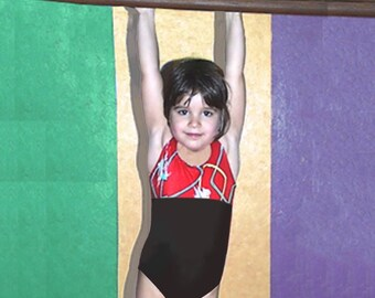Gymnastics Leotard Girls Child size 2 3 4 5 6 7 8 Red purple teal black Squiggly Lines NEW Youth tank leo
