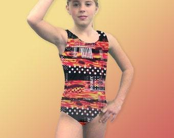 Gymnastics Leotard for Girls Child size 6 8 10 12 14 black orange abstract design New Youth gym tank leo