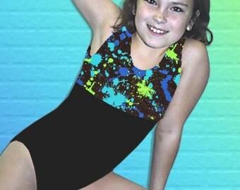 Gymnastics Leotard for Girls Child size 2 4 6 8 10 12 black turquoise lime blue paint splotches New Youth tank leo