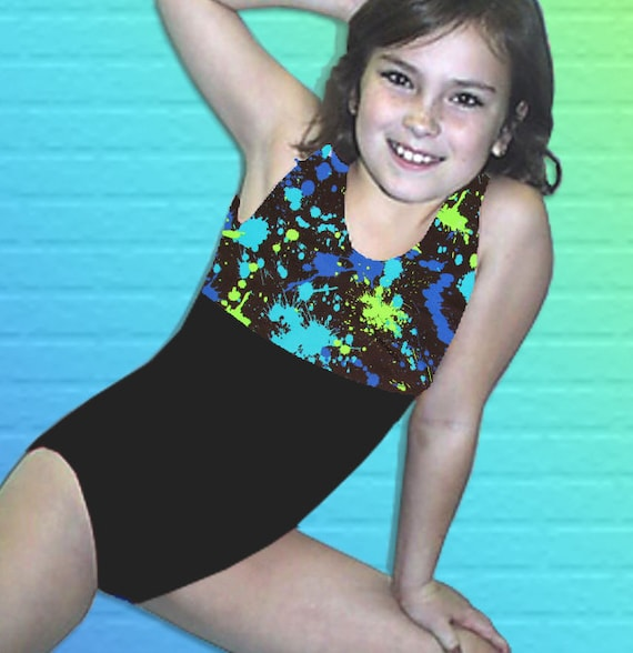 for girls child size 2 4 6 8 10 12 black turquoise lime blue paint