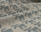 Moose hand screen printed fabric - 'Dove Grey'
