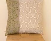 Green & White Leaves Cushion Cover - 45cm x 45m