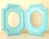 Aqua Blue Faux Bamboo Vintage Folding Frames