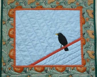 Art Quilt, Custom Order, Wall Hanging, Bird Quilt, Custom order Quilt, Blackbird Quilt